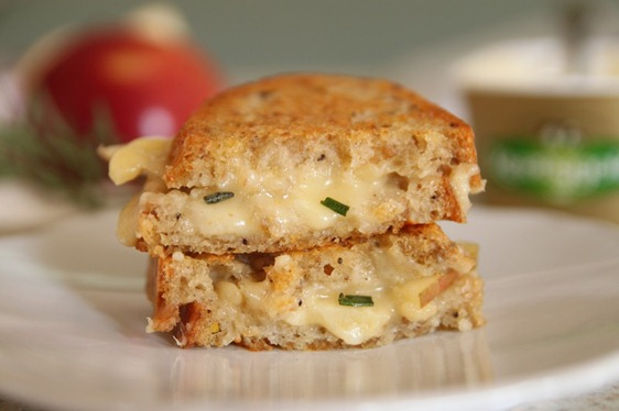 grilled cheese with apple and rosemary walnut butter