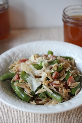 Whole Wheat Orzo with Ham, Peas, and Parmesan – Bran Appetit