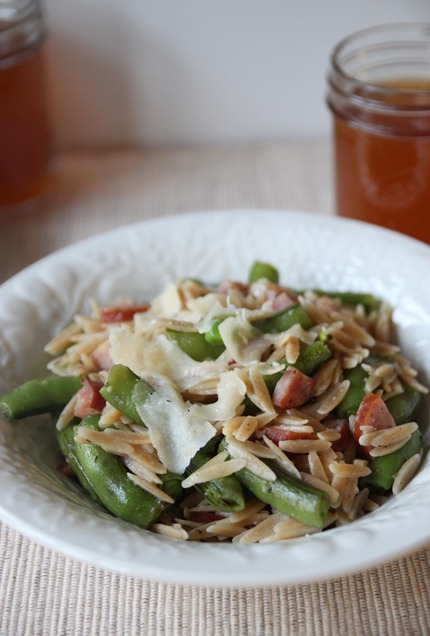Bran Appetit » Whole Wheat Orzo with Ham, Peas, and Parmesan