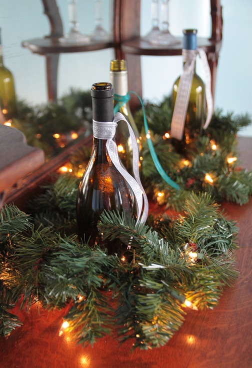 Wine bottles for holiday decorations cooking and recipes for Empty bottle decoration ideas