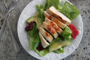 avocado blood orange chicken salad with wasabi dressing
