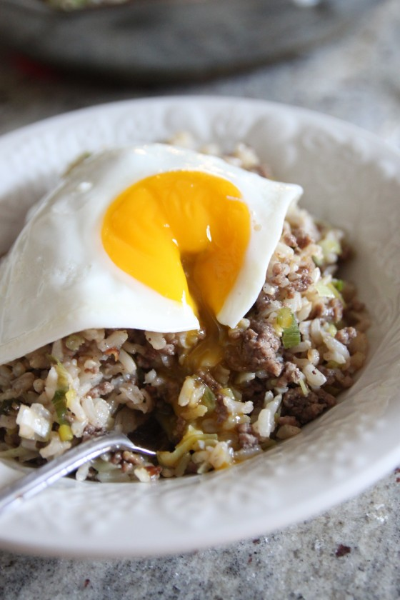 spiced beef and leek fried rice