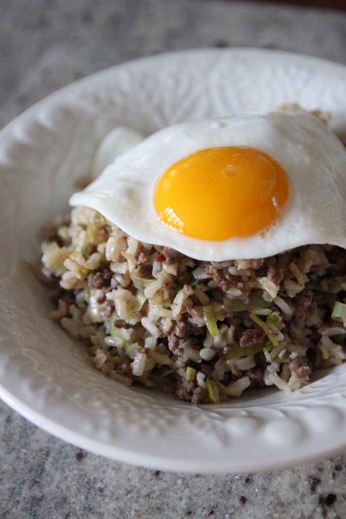 spiced beef and leek fried rice 5