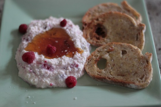 raspberry ricotta with honey, salt, and toast