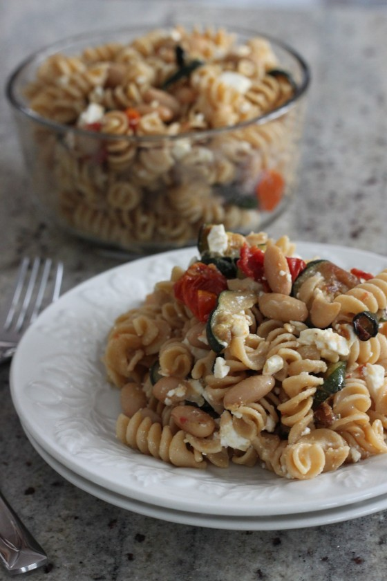 Pasta Toss with Zucchini, Beans, Tomatoes, and Feta