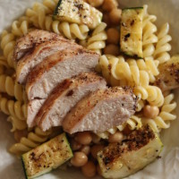 za'atar and chutney grilled chicken with zucchini and lemon pasta salad