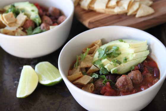 turkey meatball tortilla soup