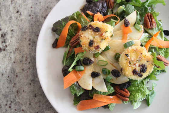 raisin pecan goat cheese salad