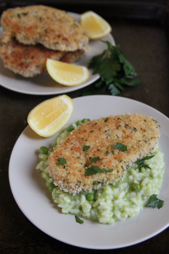 turkey milanese with pea risotto