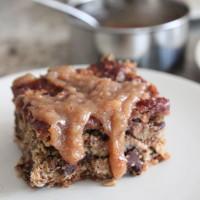 oatmeal turtle bars with maple date caramel