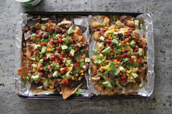 super bowl nachos and tater tot nachos