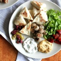 spinach and feta turkey meatballs and greek plate dinner